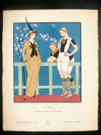 Gazette du Bon Ton by Georges Barbier 1914 Art Deco Pochoir. Rugby